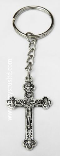 6 x Cross Crucifix Jesus Keyrings Holy Religious Silver-Tone Key Rings Catholic